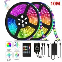 32.8ft RGB Music Sync Color Changing LED Strip Lights Remote For Home Decor IP65