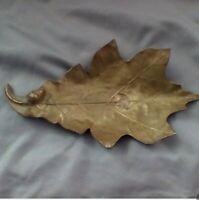 Vintage Brass Bassick Sack Oak Leaf Trinket or Candy Dish/Ashtray - Signed!