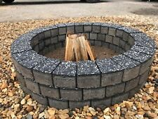 Fire pit granite slab fire place DIY Garden Patio graphite bricks BBQ