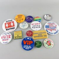 Lot of 15 Vintage Pin Back Metal buttons MIX