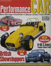 Performance Car 11/1992 featuring MG RV8, Alfa Romeo SZ, Callaway, Caterham