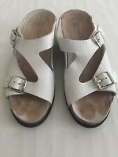 Mephisto Terie Women's White Leather Wedge Slide Sandals SZ 8 EU 38