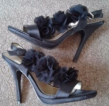 """DOROTHY PERKINS BLACK SATIN  4.5"""" HIGH HEELS STRAPPY PARTY EVENING SHOES UK 6"""