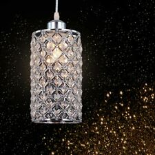 Crystal Hanging Light Pendant Fixture Modern Kitchen Island Clear Metal Silver