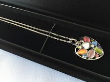 Cat's Eye Stone Multi Colour Necklace Pendant Sterling Silver Chain Display Case