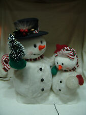 X-TRA LARGE CHRISTMAS FIBER OPTIC SNOWMEN SET ELECTRICAL LARGE & SMALL SNOWMEN