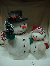 X-TRA LARGE CHRISTMAS FIBER OPTIC SNOWMEN SET ELECTRICAL LARGE & SMALL SNOWMEN