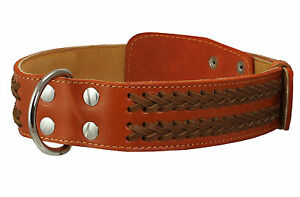 "Braided Dog Collar Genuine Thick Leather 21""-27"" neck 1.75"" wide Bullmastiff"