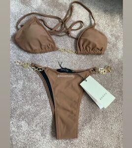 G Chain Detailed Black Gold Triangle Bikini Set UK Size 8