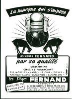 Publicité ancienne sièges Fernand Nancy 1953 issue de magazine
