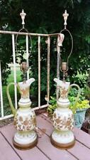 Pair of Large Vaseline Satin Cased Glass Gold Enamel Ewer Art Glass Table Lamps