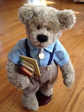"""Willie School Boy Plush 14"""" Handmade Fully Jointed Bear by Penny French"""
