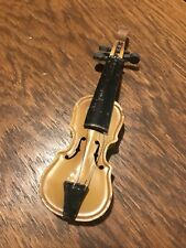 Vintage Antique Mustard Yellow Tin Toy Violin Made in Czecho-Slovakia