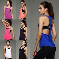 Womens Sports Gym Racer Back Running Vest Fitness Jogging Yoga Singlet Top 6-14