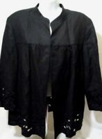 KASPER Size 18 W Womens Black Laser Print Cut Styling Blazer Embroidered Jacket