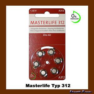 Masterlife Hörgerätebatterie Typ312, HÖRGERÄTE BATTERIE,PR41, A312,Mercury Free