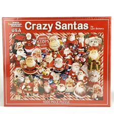 White Mountain Jigsaw Puzzle Crazy Santas 1000 Pieces Lori Schory Christmas