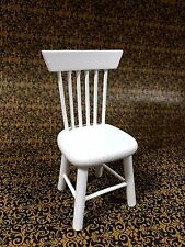 DOLLHOUSE MINIATURE FURNITURE WHITE WOODEN SIDE CHAIR..CLA10210