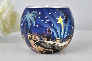Leuchtglas 21823 Motiv Bethlehem 11cm Deko Teelichthalter Windlicht Kerzenfarm