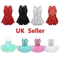 UK Girls Kids Ballet Jazz Dance Tutu Dresses Leotard Sequins Dancewear Costumes