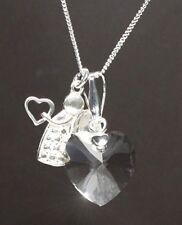 Echt Silber 925 Hals-Kette mit Swarovski Kristall Herz +Silber Schutz-Engel +Box