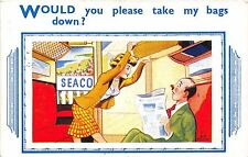 POSTCARD  COMIC   Would you please take my bags down ?