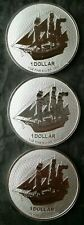 Lot of Three 2020 Cook Islands $1 1oz Silver Boat Coins