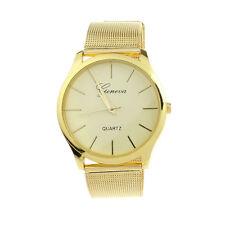Damen Klassisch Gold Armbanduhren Geneva Uhr Quartz Stainless Steel Wrist Watch
