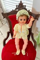"Vtg Hand Crocheted Yellow Sweater Outfit (DOLL NOT INCLUDED) Fits 18-24"" Dolls"