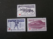 FINLAND, SCOTT # B157-B159(3), SET 1960 SEMI-POSTAL RED CROSS ISSUE USED