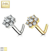 14kt Yellow or White Gold Cluster Flower L-Bend Nose Ring Stud Screw 20g Nostril