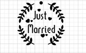 """8.1 x 7.5"""" 180microns just married wed silhouette re-usable stencil spray paint"""