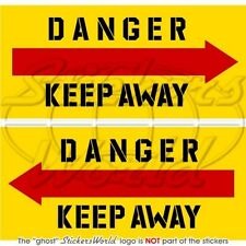 """DANGER KEEP AWAY Helicopter Tail Rotor 4"""" Stickers x2"""