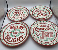222 Fifth Holiday Christmas Melamine Green Red Appetizer Dessert Plates 4