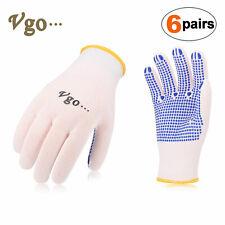 Vgo 6Pairs PVC Dotted Nylon Knitting Work,DIY,Construction Gloves(SK2004P6)