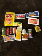 Vintage Mini Barbie Doll Dollhouse Accessory Lot Box Food Coke Motts Crunch Chip