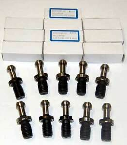 10 Pcs. Techniks BT 40 x 45 Deg. Pull Studs for Hurco CNC Mill