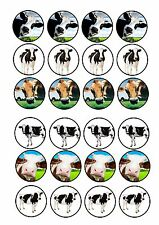24 Edible cake toppers wafer rice paper cute funny dairy cows