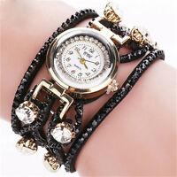 Vintage Women Watch Stainless Steel Crystal Diamonds Bracelet Quartz Wrist Watch