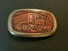 Belt Buckle Collectors Items VINTAGE LEATHER TRUCK TRUCKER RIG DRIVER CRAFTED