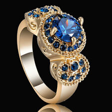 Size 7 Sapphire gem Round Engagement Ring Gold Rhodium Plated Fashion Party