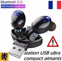 Écouteurs Sans Fil Bluetooth 5 Station USB 5V Rechargeable Kit Main Libre Music