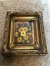 Vintage Oil Painting On Board By Grant (signed), Yellow Flowers