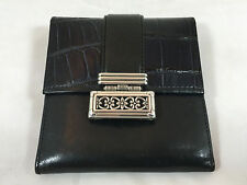 NWT Brighton Leather Trifold Wallet with Kisslock Coin Purse on Back in Black