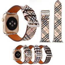 Armband for Apple Watch 38/42mm 40/44mm Grid Pattern Leather Strap Bands iWatch