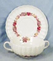 Copeland Spode Rose Briar Cream Soup & Saucer Chelsea Wicker Floral 2/7896 Flake