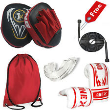 Junior Focus Pads Curved  and Gloves Set Hook & Jabs Kids Punch Bag MMA Mitts