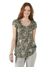 NOMADS Sage Short Sleeve Floral Cotton Voile Top Blouse Shirt Fair Trade