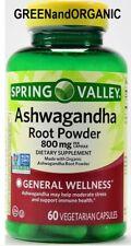 ORGANIC Ashwagandha Root Powder GMO&Gluten Free/Halal/Veggie Capsules 800mg 60ct