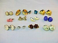 LOT OF 12  PAIRS OF VINTAGE CLIP-ON OR SCREW BACK EARRINGS